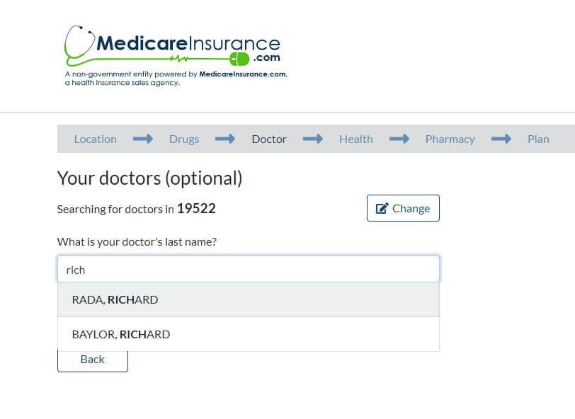illustration of doctor search function on medicareinsurance.com