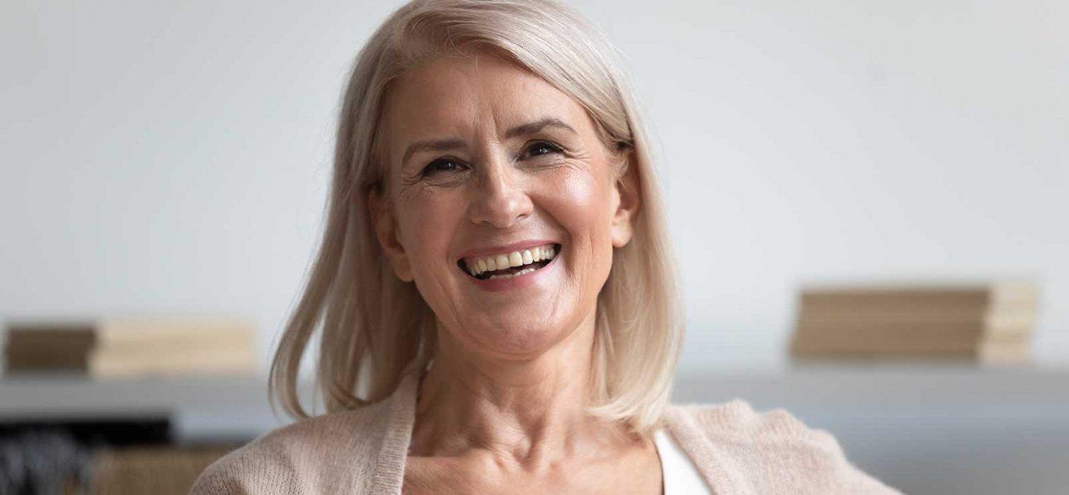 smiling, happy senior woman portrait