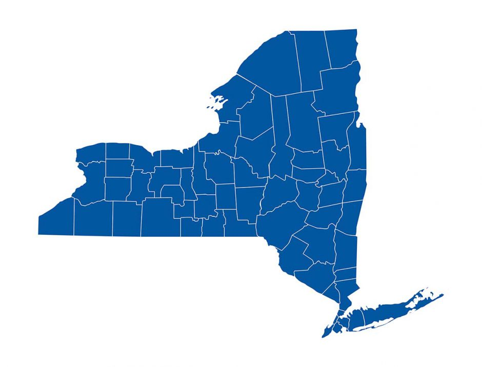 Illustrated map of New York state