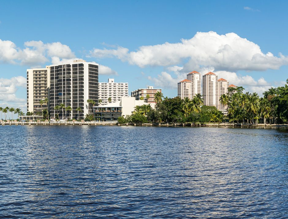 Panorama of Caloosahatchee River with waterfront apartment buildings in Fort Myers, Florida, USA