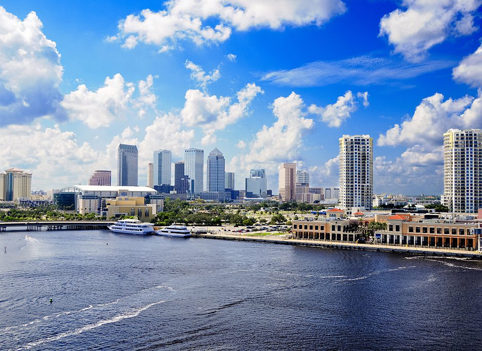 Cityscape of Tampa Florida and the harbor