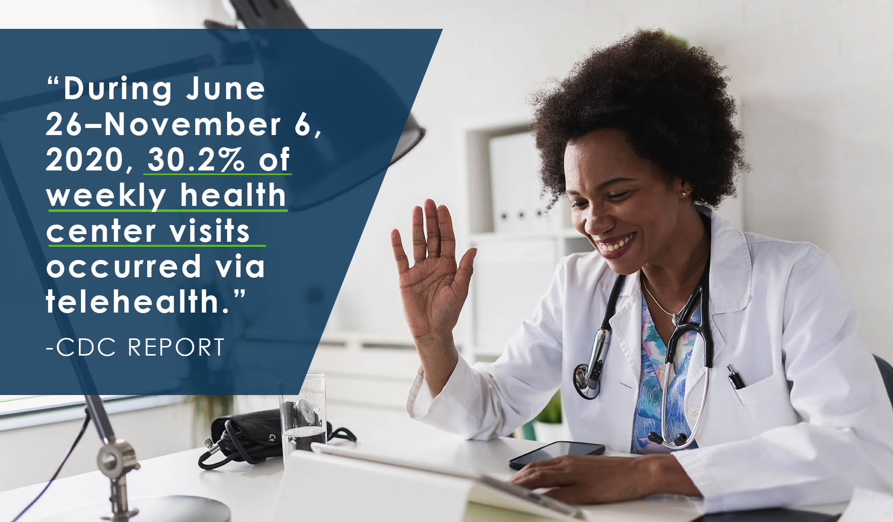 Doctor speaks to patient during telehealth virtual appointment
