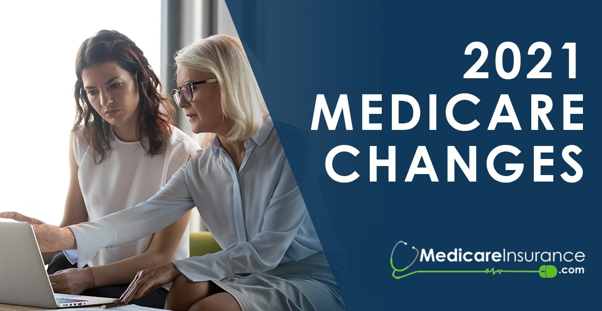 2021 Medicare Changes text ove rimage of women looking at laptop screen