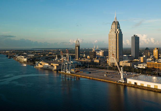 Downtown city center in an aerial view of Mobile Alabama