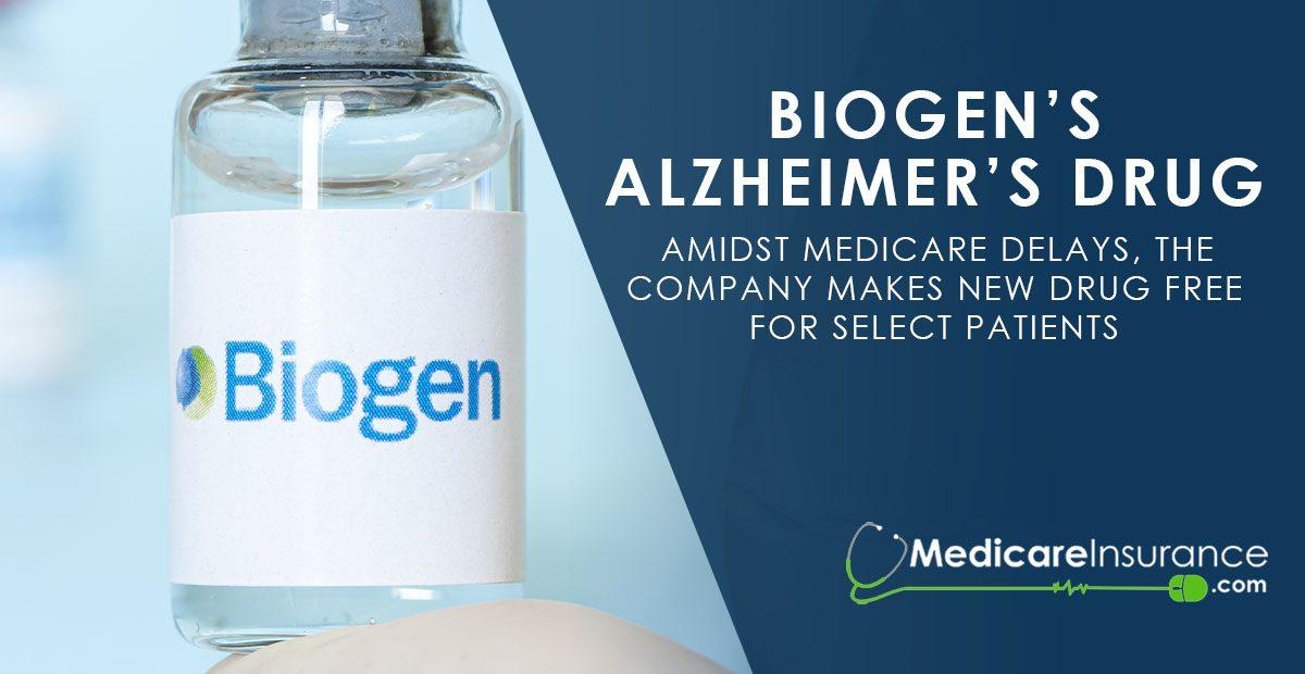Biogen Alzheimer's Drug text over image of labeled Biogen vial