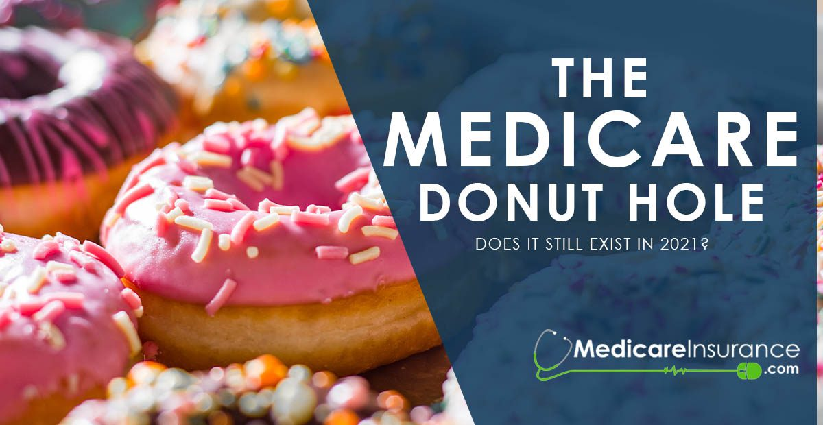 Does the Medicare Donut Hole Still Exists in 2021? Text over image of frosted donuts