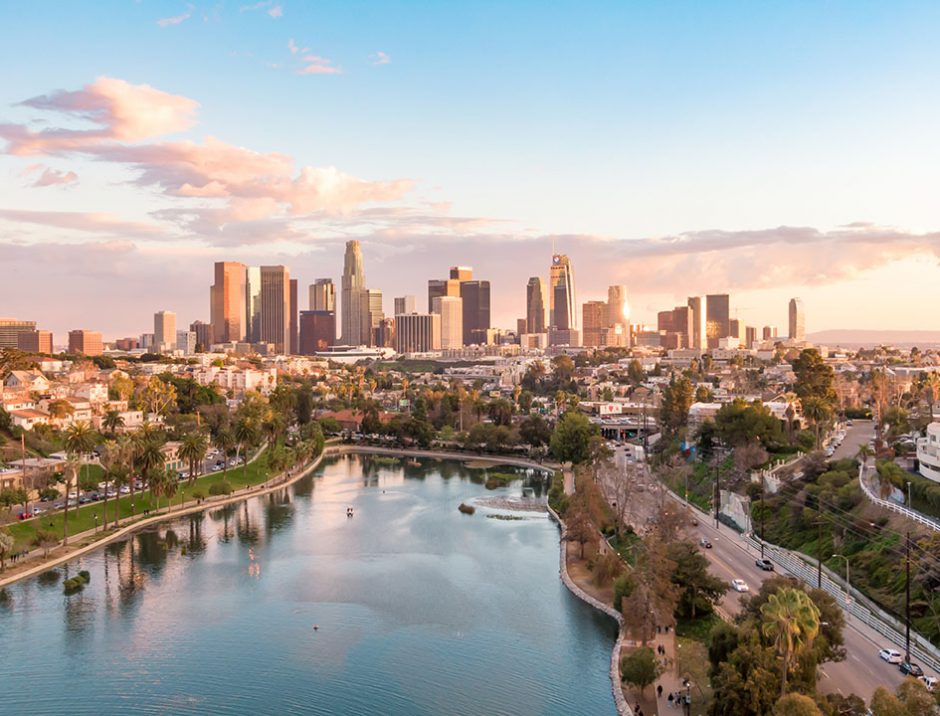 Aerial view of downtown Los Angeles California city skyline and