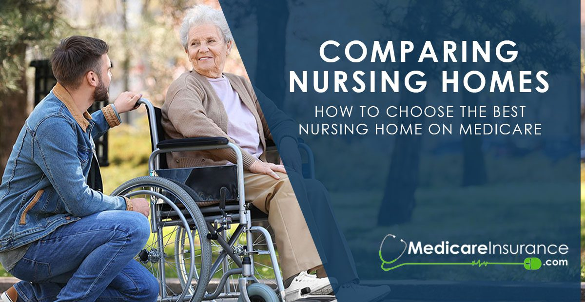 Compare Nursing Homes text over image of older mother with adult son