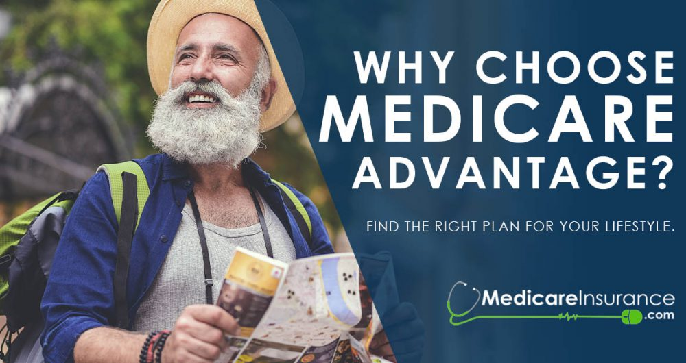 Why Choose Medicare Advantage text over image of man looking at map
