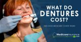 What do dentures cost? text over image of woman showing off smile at dentist