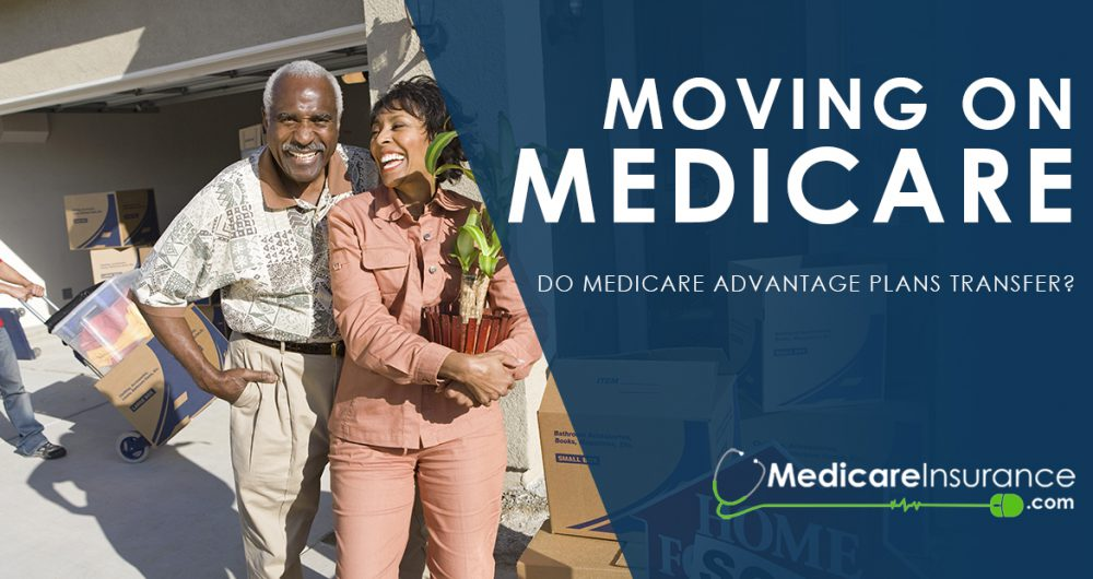 Moving on Medicare text over image of senior couple outside home with moving boxes