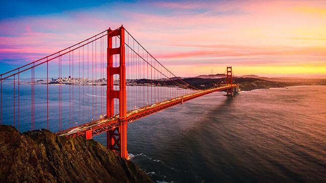 The Golden Gate Bridge at Sunset, San Francisco , CA